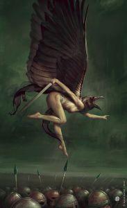 Morrighan kelt. Göttin der Schlachtfelder & des Kreiges, wo sie die Seelen der gefallenen Krieger einsammelte. Sie erscheint als Rabe oder Krähe