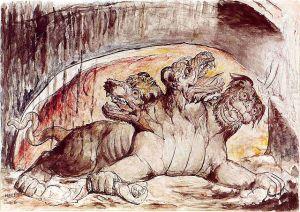 Inferno, Canto VI, 12-35, Cerberus - Zeichnung von William Blake