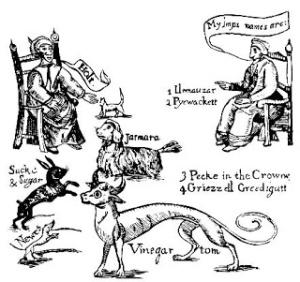 Familiare oder Geisttiere,(Mittelalterliche Zeichnung)